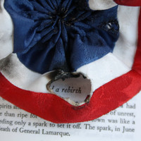 Les Miserables Cockade Rosette Pin Red White Blue - Singed