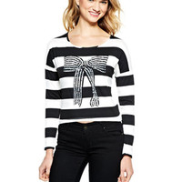Holiday Sequin Bow Long-Sleeve Top - Black Stripe