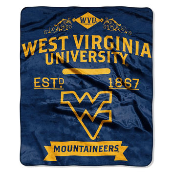 West Virginia Mountaineers NCAA Royal Plush Raschel Blanket (Label Series) (50x60)