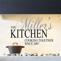 Kitchen Vinyl Wall Decal- Personalized Kitchen Cooking Together Since with Est. Date Vinyl Wall Decal Quotes