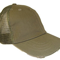 Distressed Weathered Vintage Mesh Trucker Cap (One Size, Olive Green)