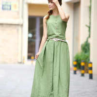 Graceful Long Pleated Maxi Dress - Summer Dress in Green- Linen Sundress for Women-Sleeveless  (R)  - Cusom Made