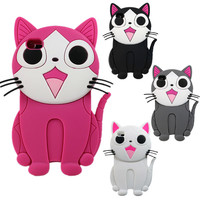 3D Cheeze Cat Kitty Soft Cartoon Rubber Case Cover For Apple ipod touch 4 4gen