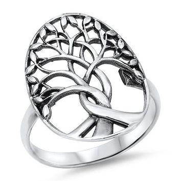 Sterling Silver Tree of Life Eternity Ring