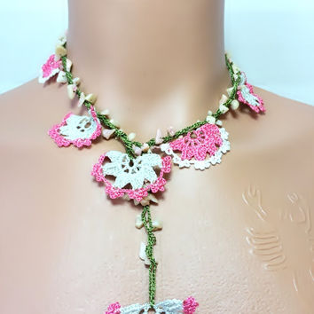 Flowers Crochet Beaded Work Strand Necklace,Beaded Handmade Lace Jewellery,Turkish Oya,Gift Necklace,Brides Accessories,Multi Color