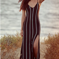 Stripes Strappy Slit Beach Dress 11282