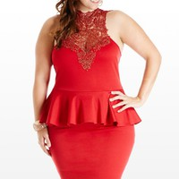 Plus Size Weave Met Before Lace Peplum Dress | Fashion To Figure