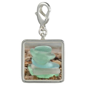 Seaglass and sand bracelet charm