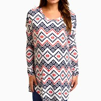 White Black Red Tribal Chevron Long Sleeve Maternity Top