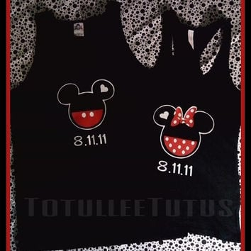 Priority 2 Day Shipping His/Hers Couples Disney Inspired Tank Tops Perfect For Disney Party Mickey and Minnie Couple Shirts