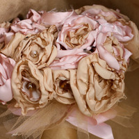 Pink gold fabric flower bouquet champagne rose tulle beaded bridal bouquet bride up cycled bridesmaid gift bouquet