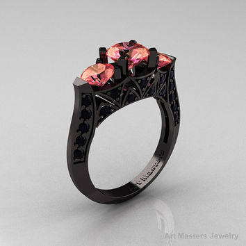 Modern 14K Black Gold Three Stone Peach Imperial Topaz Black Diamond Solitaire Engagement Ring, Wedding Ring R250-14KBGBSPIT