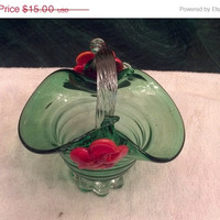"Vintage Hand Blown Glass Bowl Basket Green  5 3/4"" X 5 1/2"""
