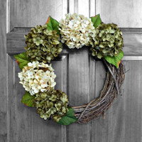 Hydrangea Wreaths, Year Round Wreaths, Green and Cream Hydrangeas, Summer Door Wreaths, Everyday Wreath, Front Door Wreaths