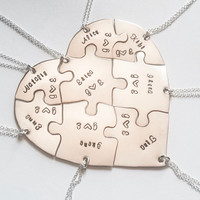 Hand engraved heart puzzle necklaces, shaped like a heart - perfect for 8, friendship, family, BFF, seven puzzles, jigsaw, 8 pieces, eight