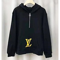 LV Louis Vuitton Fashion New Letter Print High Quality Contrast Color Hooded Long Sleeve Sweater Top Black