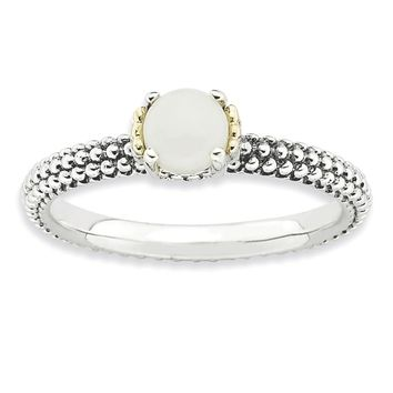 Sterling Silver & 14k Gold Stackable Expressions White Agate Antiqued Ring