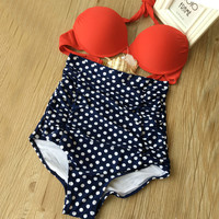 Ladies sexy Swimsuit Retro Ruched High Waist Bikini Set Floral Polka Dottted Vintage Swimwear