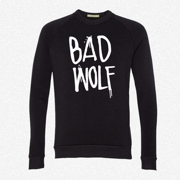 Dr Who Bad Wolf fleece crewneck sweatshirt