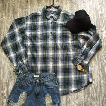 Vintage Flannel- Blue/Green
