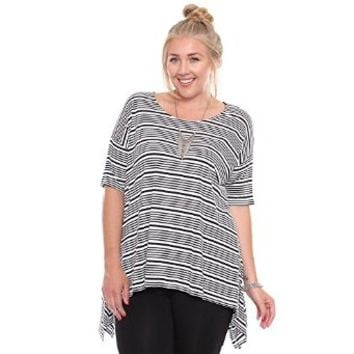 Plus Size Black/White Striped Top Winged Side Details 1063
