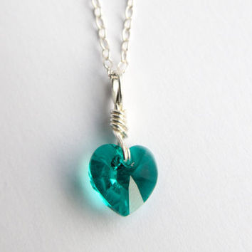 Blue zircon necklace, wire wrapped necklace, heart necklace, uketsypromo0313