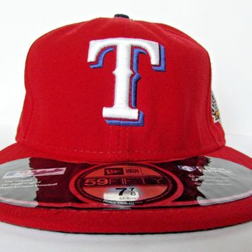 New Era Authentic Texas Rangers Men's Baseball Red Cap, Size 7 7/8 Hat USA MLB