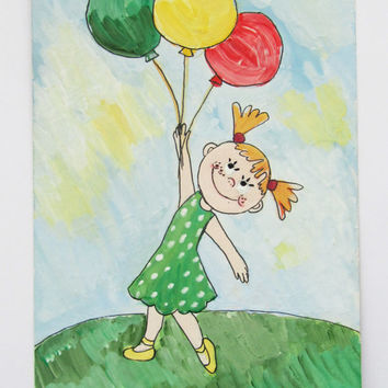 Picture - Card - Original  gouache painting on carton- Girl with ballons