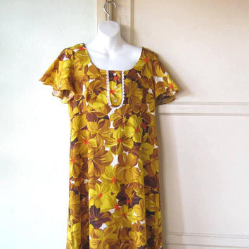 Brown/White/Yellow Floral Hawaiian Maxi Dress w/ Lacy Ft; Women's XL '60s Tiki Dress; U.S. Shipping Included