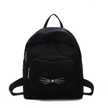 School Backpack trendy Meloke 2018 Fashion cute cat canvas backpacks girls travel backpack Korean style school bags for high students College bag M167 AT_54_4