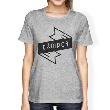 Camper Womens Gray Cotton T Shirt Trendy Design Cute Earth Day Tee
