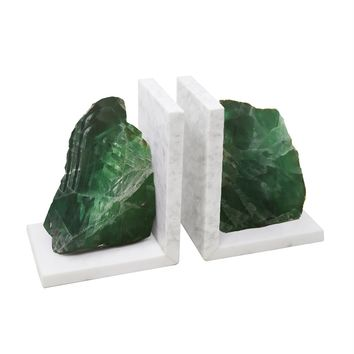 Appealing  Set Of 2 Green Marble Bookends With Agate -Sagebrook Home