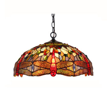 "SKIMMERS Tiffany-style 2 Light Dragonfly Ceiling Pendant Fixture 18"" Shade"