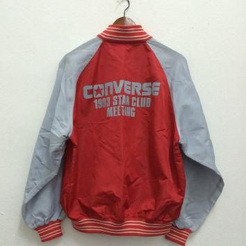 Vintage 90s Converse All Star Meeting Snap Button Varsity Windbreaker Coach Jacket Hi