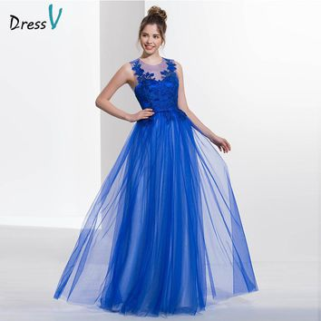 Dressv royal blue scoop neck A-line sexy backless prom dress sleeveless appliques long floor length prom dress evening dress