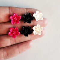 Set of 3 Lily Flower Earrings Hot Pink Black and White Flowers Post Studs