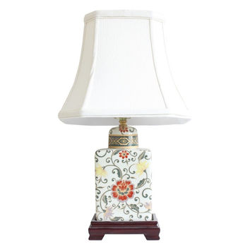 """Beautiful Pale Yellow Floral Pattern Porcelain Tea Caddy Table Lamp 17.5"""""""