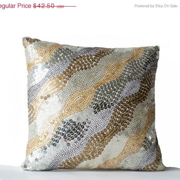 Valentine SALE Throw Pillows -Exquisitely Embroidered White Silk Pillowcases -Beaded Pillow in Silver Gold -Gifts -18X18 -Couch Pillow - Bea