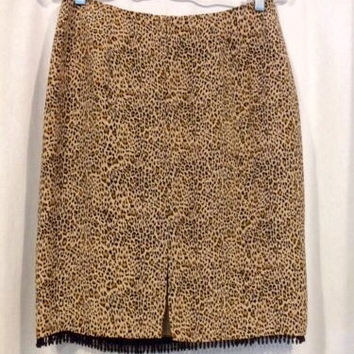 100% Silk Leopard Print Beaded Skirt (Small/Indie Brands)