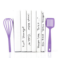 Bookends Spatula and whisk these bookends will hold your favorite cookbooks Purple