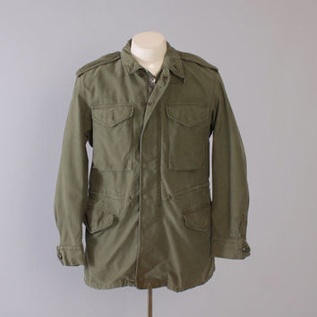 Vintage 50s OG-107 JACKET / Men's 1950s M-1951 Parka Field Coat M 38