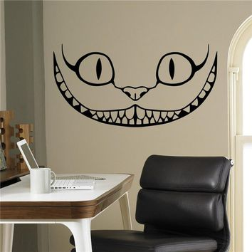 Smiling Cheshire Cat Vinyl Decal Alice in Wonderland Wall Sticker Cartoons Home Interior Children Kids Room Decor