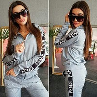 FENDI Trending Women Casual Print Zipper Long Sleeve Sweater Top Pants Trousers Set Two-Piece Sportswear Grey