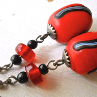 Red Earrings Glass-Ceramic, Artisan Handcrafted, Dangle Vintage