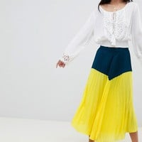 Boohoo Colour Block Pleated Midi Skirt at asos.com