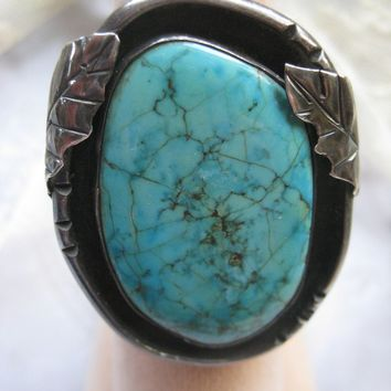 Navajo Sterling Turquoise Ring Size 11-1/4, Mens Ring, Unisex Ring