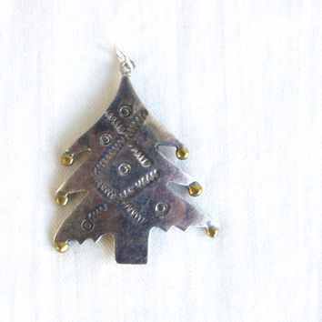 Christmas Tree Pendant Mexican Sterling Silver Charm Vintage Finding Taxco Mexico Mixed Metal Jewelry