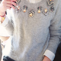 Gray Rhinestone Fluffy Sweater