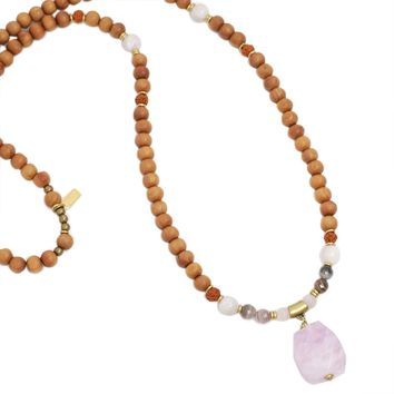 Kunzite and Sandalwood 'Emotional Healing' Mala Necklace