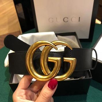 GUCCI Trending Couple Double G Pearl Smooth Buckle Leather Belt